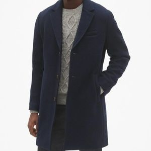 Gap Mens Navy Wool Blend Topcoat XXL